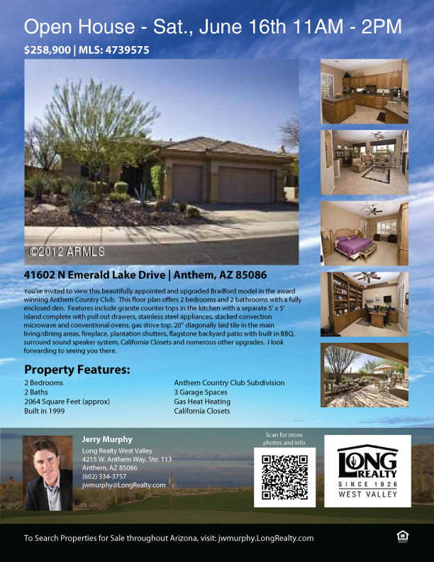 Anthem Az Open House Saturday June 16th 11am 2pm All